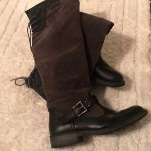 Gray and Black Boots